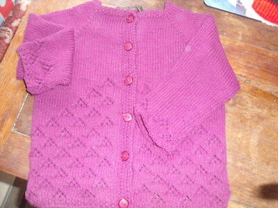 """Hand knitted girl's cardigan with lace detail.up to 24"""" chest"""