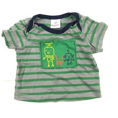 HANNA ANDERSSON Striped Robot Infant SHORT SLEEVE SHIRT SIZE 50 0-3 Months