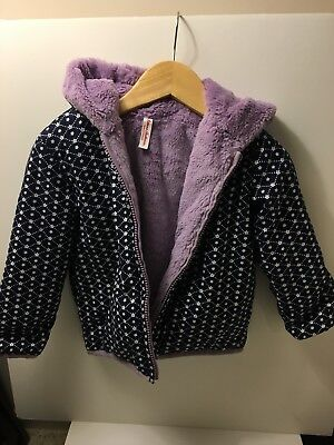 Hanna Andersson Lined & Hooded Jacket, Size 90 (Navy, White, Lavender)