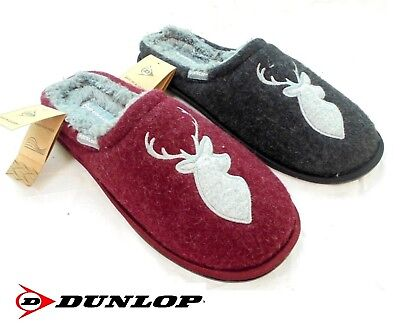 *sale New Mens Dunlop Mule Slippers Luxury Memory Foam Warm Lined Stag Size 7-12
