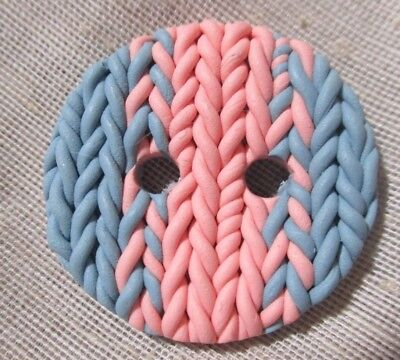 """Very Unusual H-Made Polymer Button == Gray & Pink """"knitted"""" Button - Yes Really!"""