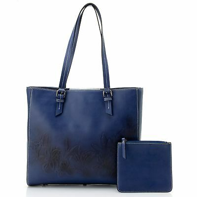 Firenze Bella Tooled Air brushed Floral Leather Tote Bag w/ Pouch Sample Sale