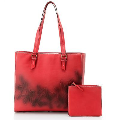 Firenze Bella Tooled Air brushed Floral Leather Tote Bag w/ Pouch RED NWT