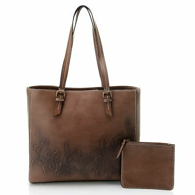 Firenze Bella Tooled Air brushed Floral Leather Tote Bag w/ Pouch Brown NWT