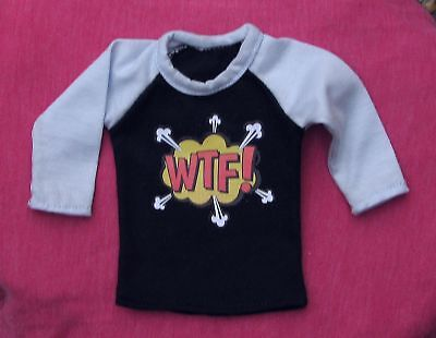 Blue comic WTF 3/4 sleeve baseball t-shirt for MSD, 1/4 BJD dollfie