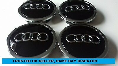 4 x GLOSS BLACK AUDI 69mm CENTRE CAPS , ALLOY WHEEL BADGES FOR GENUINE ALLOYS