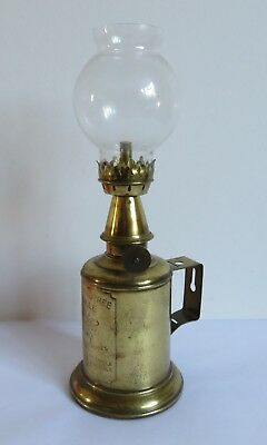 "Vintage French Brass ""Lampe Feutree Abeille"" (Bee) Vintners Oil Lamp & Chimney."