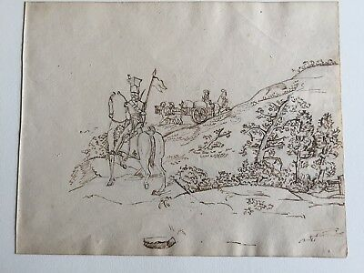 Theodore Rousseau, sketchbook ink and pencil drawings, circa 1825