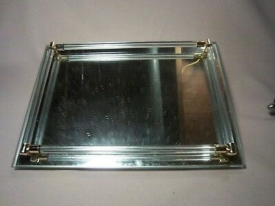 Glass Vanity Tray with glass side bars & gold tone corners