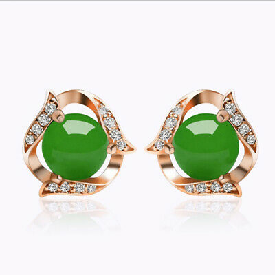 1 Pair Green Jade White Gold Rose Gold Round Dangle Stud Earrings Jewelry G