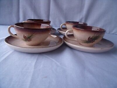 (4) VINTAGE 1950s ROMCO Rocky Mountain Pottery Pine Cups and Saucers! O1