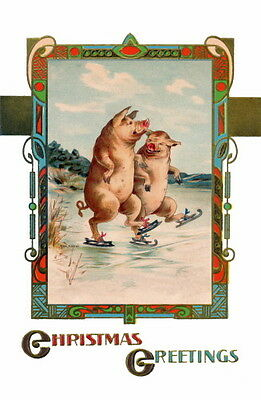 Vintage Art Deco~Christmas~Cheerful Ice Skating Pig Pigs ~ NEW Large Note Cards