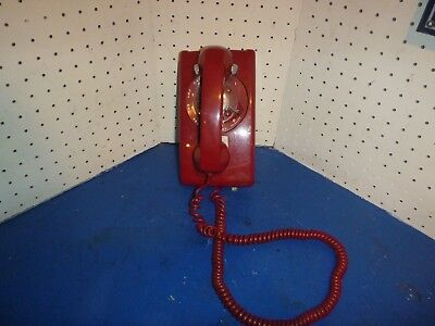 Vintage Cherry Red Western Electric 554 Bell System Rotary Wall Mounted Phone