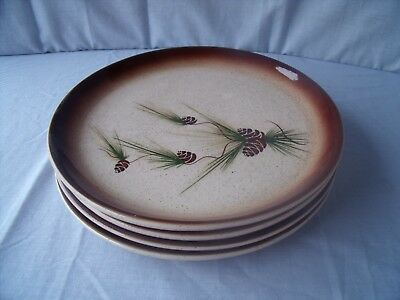 "VINTAGE 1950s ROMCO Rocky Mountain Pottery Pine Cone plates 10"" set of 4! O1"