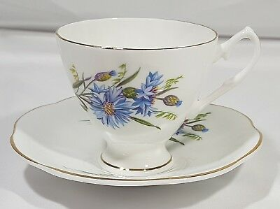 Hamilton Fine Bone China Tea Cup & Saucer Gold Trim Blue Flowers Gold Trim