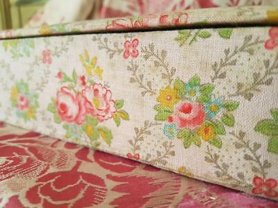 Chic Shabby Floral Antique French Art-Deco Fabric Covered Glove Box,Boudoir Box