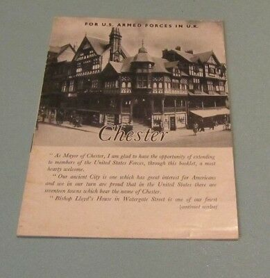 1944 WWII Chester England Welcome Booklet For US Armed Forces in the UK 16pg