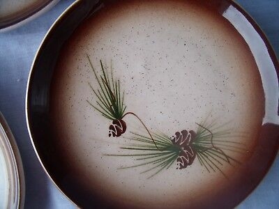 "VINTAGE 1950s ROMCO Rocky Mountain Pottery Pine Cone plates 6.5"" set of 4! O1"