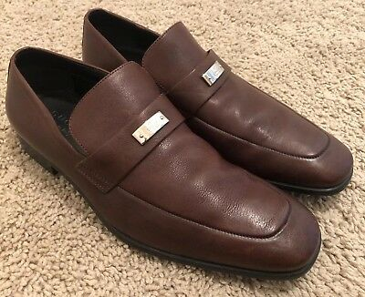 Gucci Mens Brown Leather Loafers Size 7.5