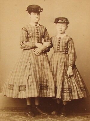 Cdv Girls Matching Hooped Dress Numa Blanc Paris Antique Victorian Photo Fashion