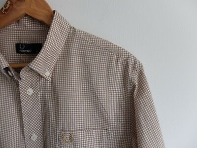 Gingham check Fred Perry l/sleeve shirt | M | Light brown White | Mod Ska