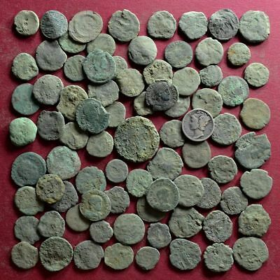Lot of 80 A1 Follis Maiorina AE2 AE3 AE4 Low quality Roman coins - uncleaned #1