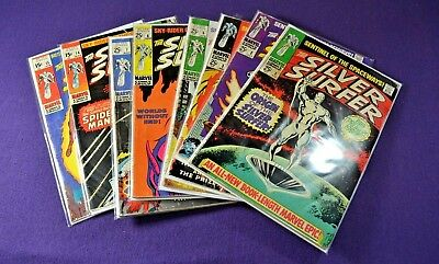 Lot of 8 Marvel Silver Surfer 1,2,3,5,6,7,14,15 Spiderman and Human Torch NICE!