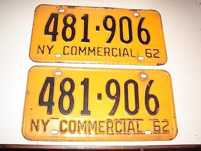 Pair 1962 N.Y. State Commercial License Plates 481-906