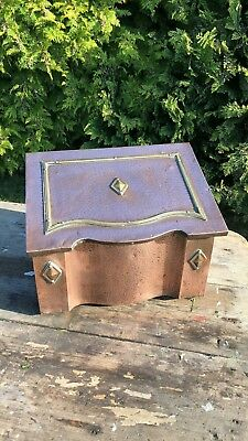 Beautiful Antique Vintage Copper & Brass Coal Log Bucket Chest *