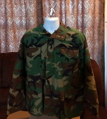 US Army Issue BDU Vintage Field Jacket Cold Weather Coat Size Large Short