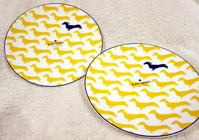 Kate Spade Wickford Dachshund Accent / Salad Plates Lenox YELLOW Set of 2 9""