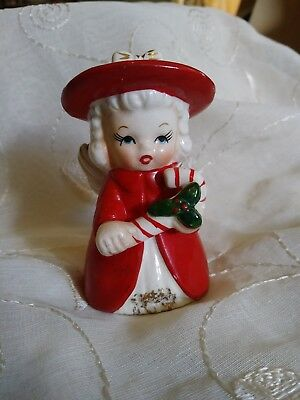Vintage Christmas Bell Fine A Quality Japan  Angel Figurine Holding Candy Cane