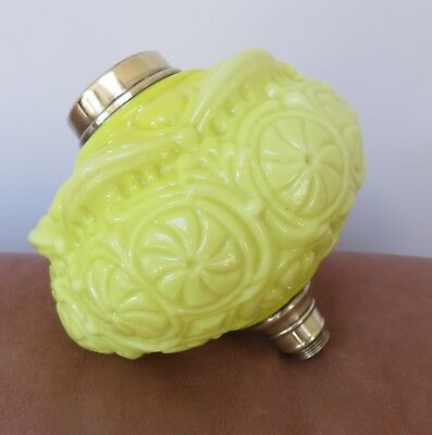 Victorian Moulded Acid Yellow Glass Oil Lamp Font, Art Nouveau pattern design.