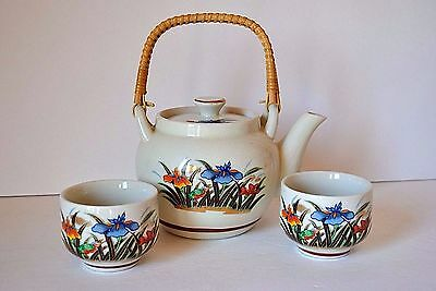 Hot Sake / Tea Set - Teapot, 2 Cups - Flowers (Iris?), Bamboo Handle - Japan