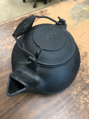 Lodge Cast Iron Tea Kettle Pot Wood Stove Camping 2TK2 USA Made NICE!