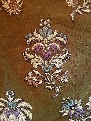 19thC Antique French Wool Tapestry Textile Curtain & Pompom Passementerie Trim