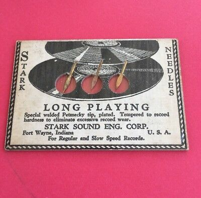 ANTIQUE VINTAGE STARK NEEDLES IN SEALED PACK OF 3 Long Playing VICTROLA