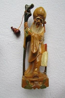 Vintage Oriental Asian Chinese God Of Longevity Figurine  Hand Carved & Painted