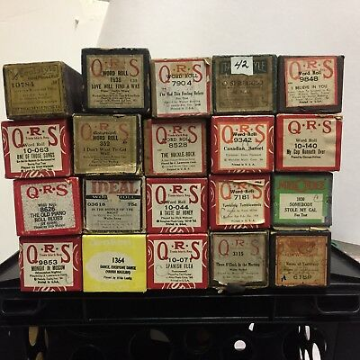 Lot Of 20 Vintage Player Piano Rolls: Ideal, Qrs, Italian, Melodee,supertone