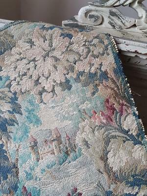 Tiny Antique French Landscape Tapestry Panel featuring Chateau,Florals & Foliage