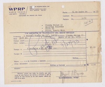 Vintage Commercial Invoice / Wprp Radio Station / Ponce Puerto Rico 1973