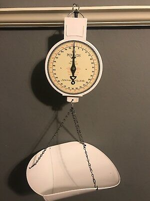 American Family Scale Co. Hanging Scale White 60 Pound Produce Scale Vintage