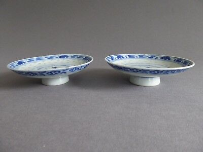 Pair of signed Antique Vintage Chinese blue & white porcelain dishes or bowls