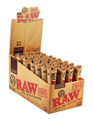 Raw Natural Unrefined 1-1/4 Pre Rolled Cones--32/6pk per box