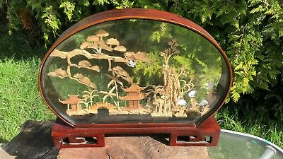 Beautiful Vintage Chinese Cork Diorama Collectible/ Desk Ornament *