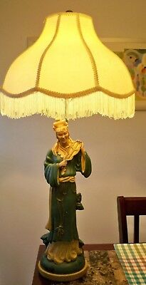Large  Antique Asian Oriental Figural Porcelain Lamp Person Playing Instrutment