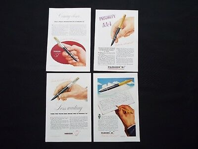 "Parker 51 -  Pen "" WWII "" Lot of Four Vintage Ads 1945"