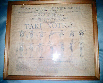 VTG George Washington's Call To Arms Broadside Repro - Framed 17 x 15 - VG cond