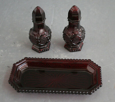 Avon Cape Cod Ruby Red Glass Salt & Pepper Shakers with Butter Dish (22362)