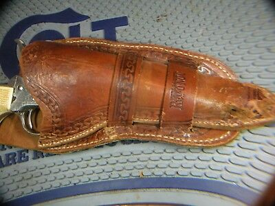 Vintage tooled double loop holster, Colt saa, H.S.B. marked